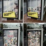 Rubbished around the bus shelter